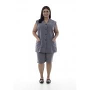 Plus Size - Kit com 2 Conjuntos de Colete com bermuda em algodão para copeira, arrumadeira, doméstica