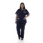 Plus Size - Kit com 2 conjuntos de Jaleco e Calça em Oxford para Copeira, Faxineira Doméstica