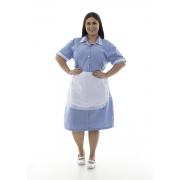 Plus Size - Vestido em Tecido Algodão Com Avental  para  Copeira, Arrumadeira, Doméstica