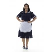 Plus Size -  Vestido em Tecido Oxford Com Avental e Detalhes em Bordado Ingles para Copeira, Faxineira, Doméstica