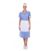 Vestido em Tecido Algodão Com Avental  para  Copeira, Arrumadeira, Doméstica
