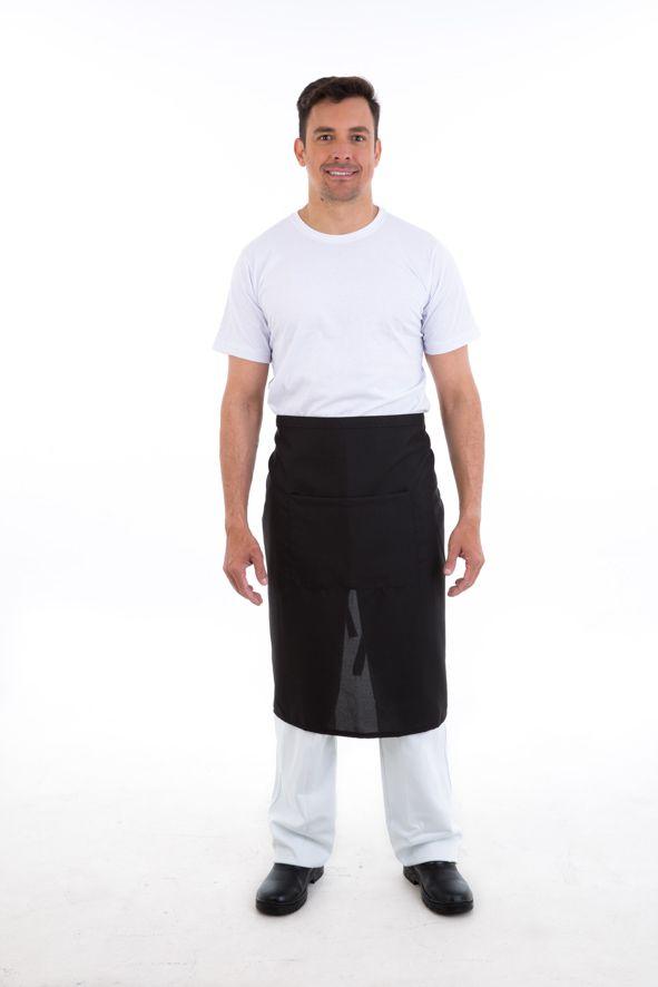 Avental de Cintura em oxford preto com bolso