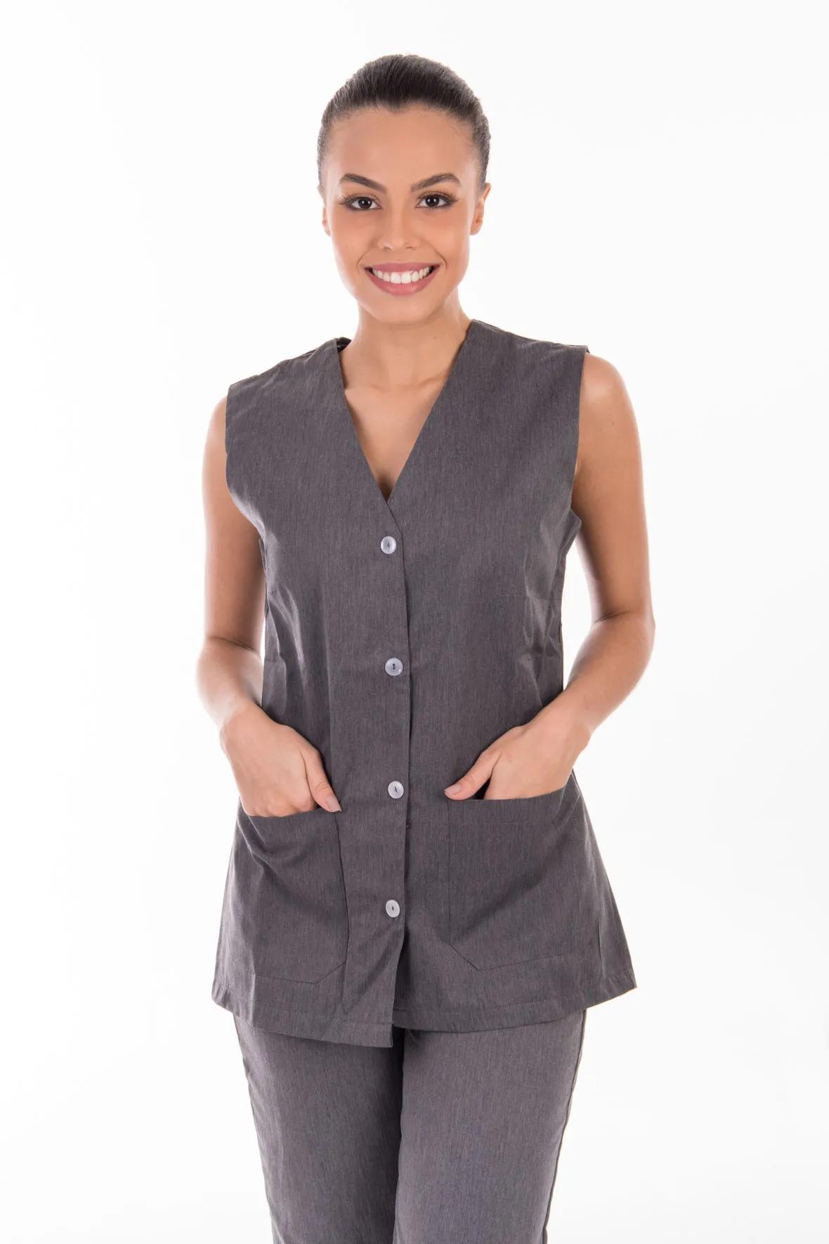 Conjunto de colete com calça em algodão para copeira, arrumadeira, doméstica