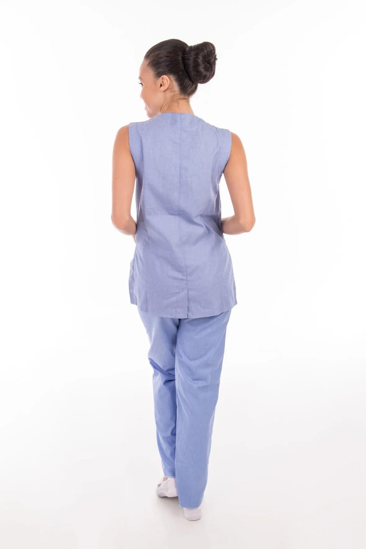 Conjunto de colete com calça em algodão para copeira, arrumadeira, doméstica  - EBT UNIFORMES