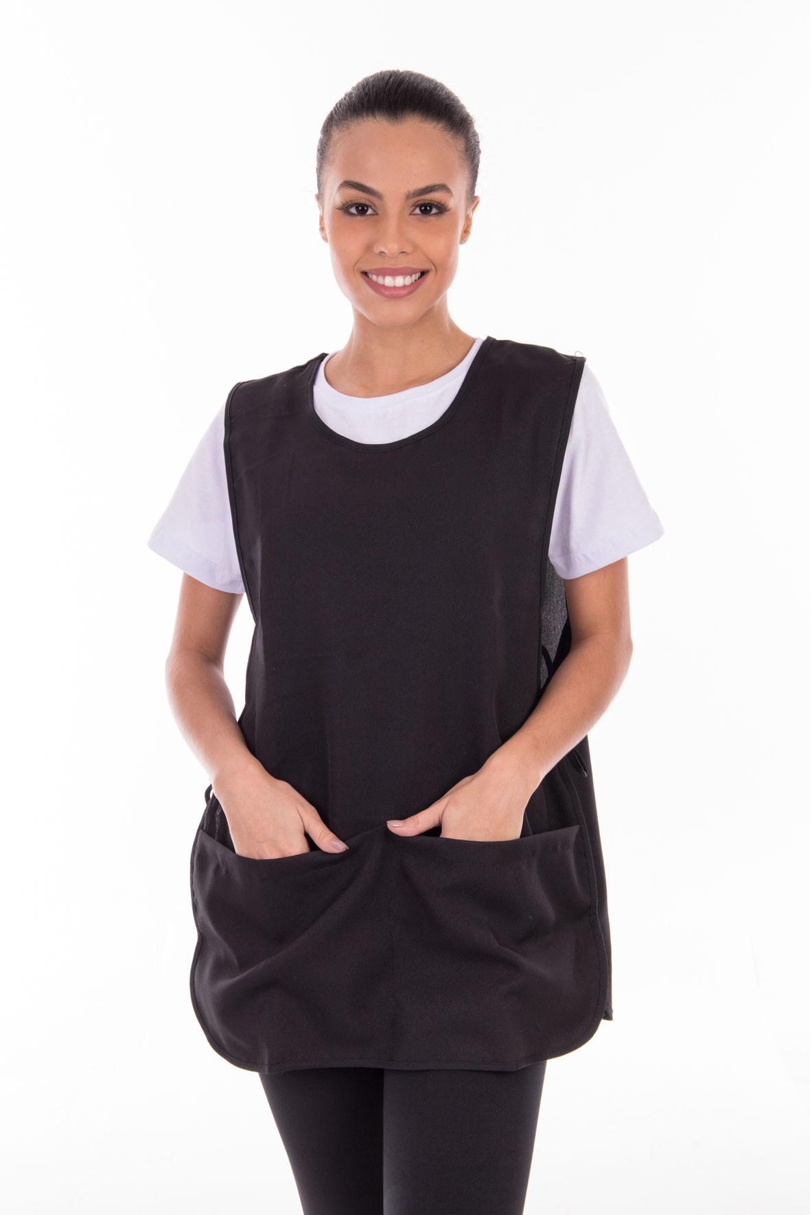 Conjunto de calça legging, camiseta e bata para copeira, arrumadeira, faxineira, babá