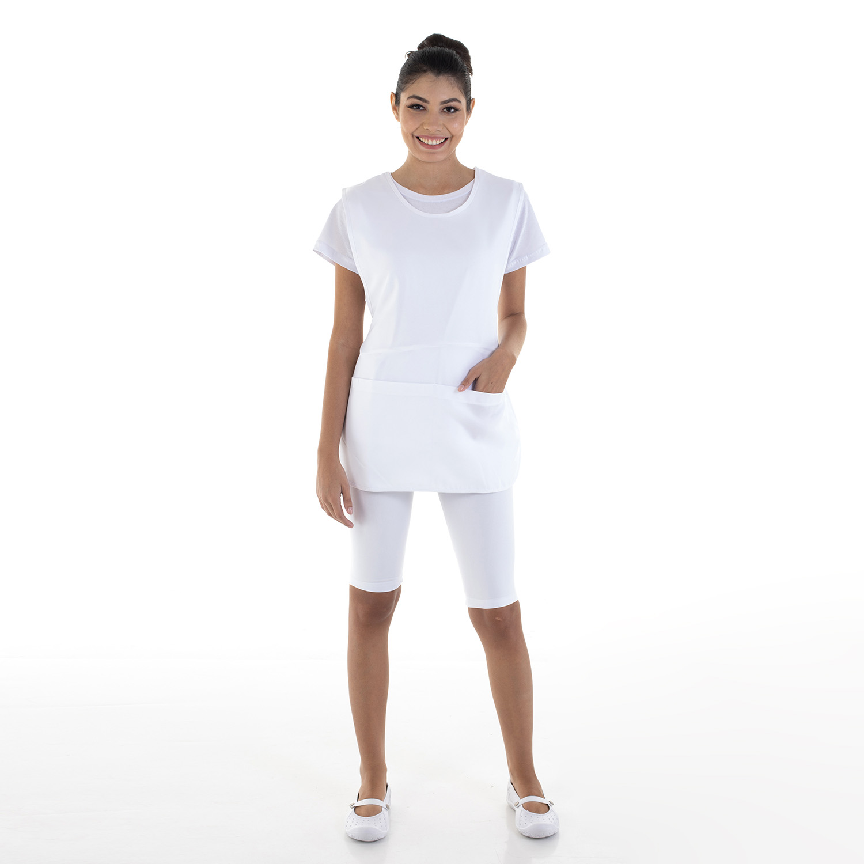 Kit com 2 Conjunto de Bermuda em Suplex, Camiseta e Bata para Copeira, Arrumadeira, Faxineira, Babá  - EBT UNIFORMES