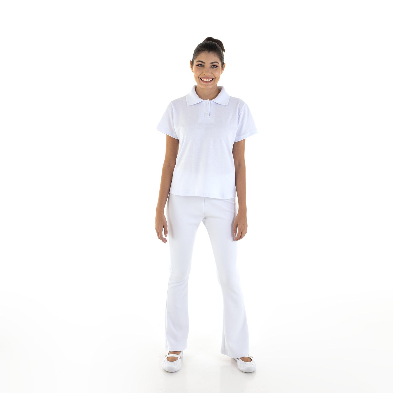 Kit com 2 Conjuntos de Camisa pólo em Tecido Piquet  e 2  Calças Bailarina em Tecido crepe -  cor Branca  - EBT UNIFORMES