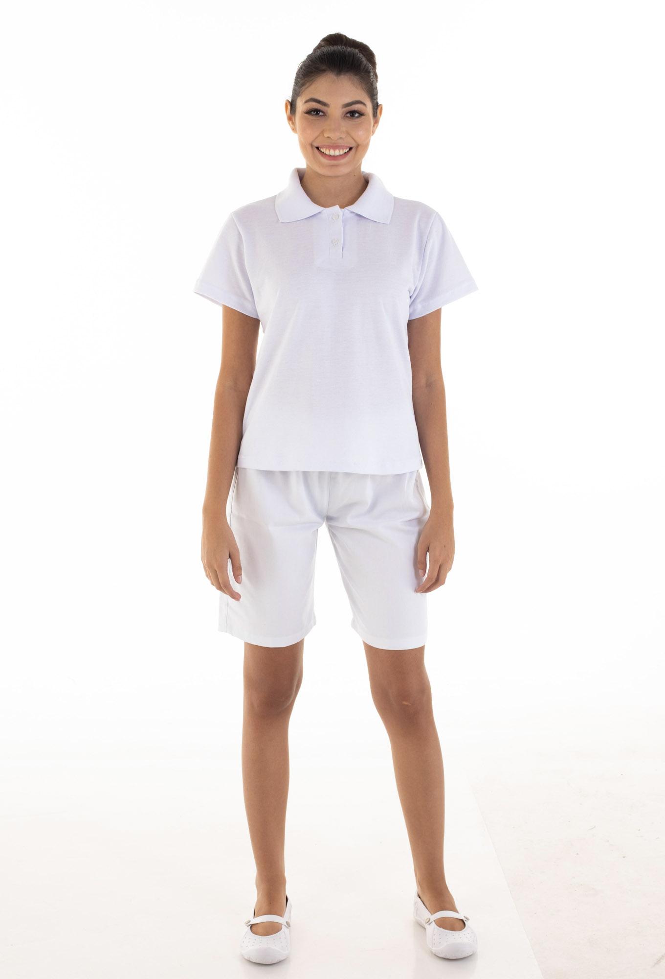 Kit com 2 Conjuntos de Camisa pólo em Tecido Piquet  e 2  Bermudas em Tecido Brim100% algodão Cor Branca  - EBT UNIFORMES