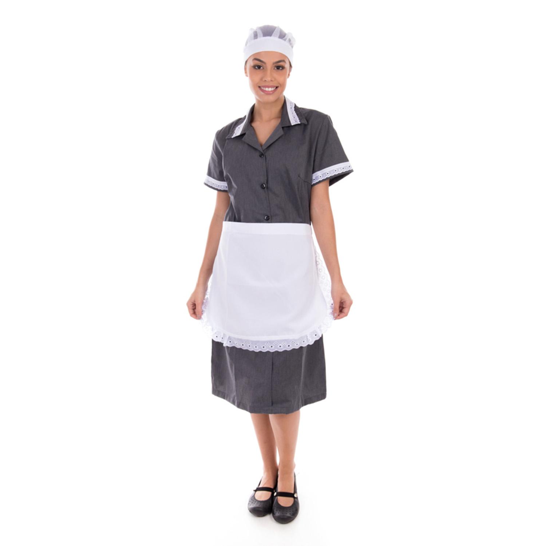 Kit com 2  Vestidos em Tecido Algodão Com Avental  para  Copeira, Arrumadeira, Doméstica  - EBT UNIFORMES
