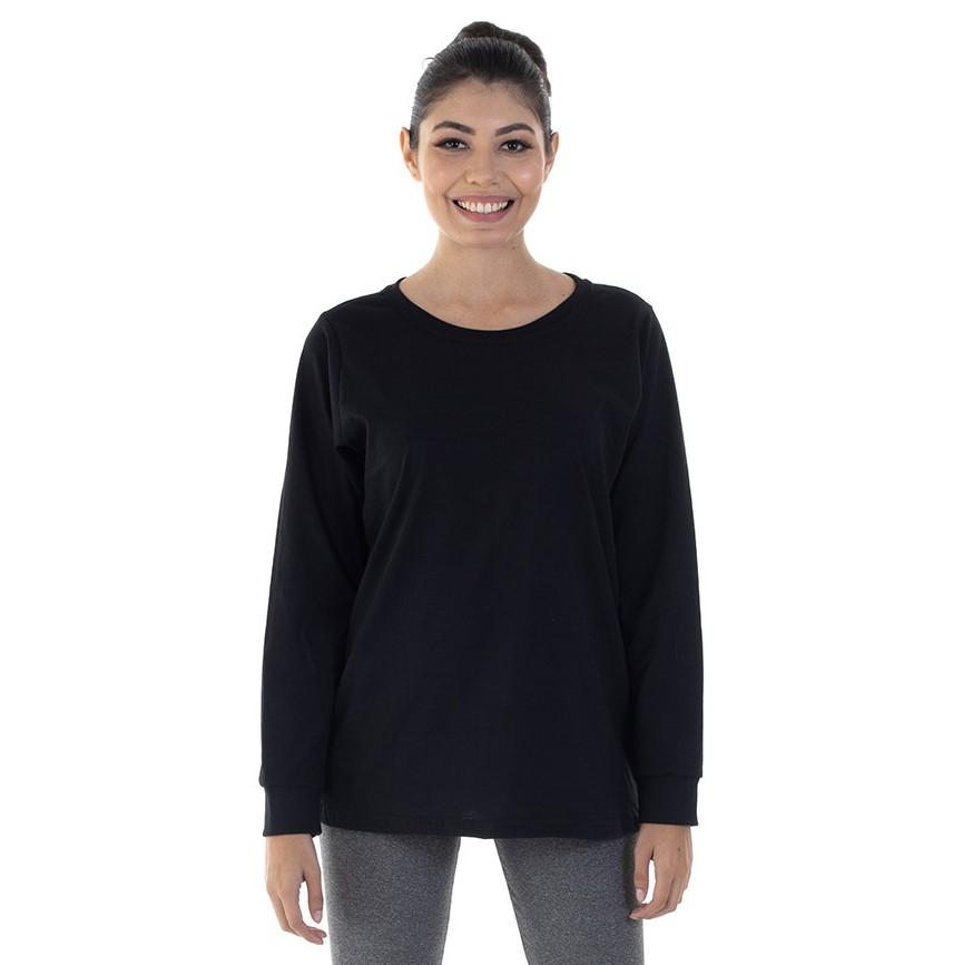 Kit Com 3 Camisetas Femininas Manga Longa 100% algodão - Branca e Preta  - EBT UNIFORMES