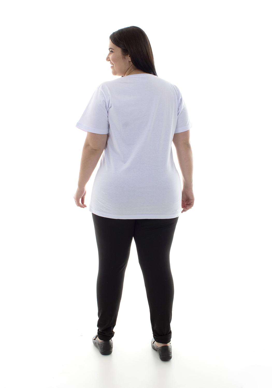 Plus Size - Camiseta Feminina Manga Curta 100% algodão - Branca e Preta  - EBT UNIFORMES