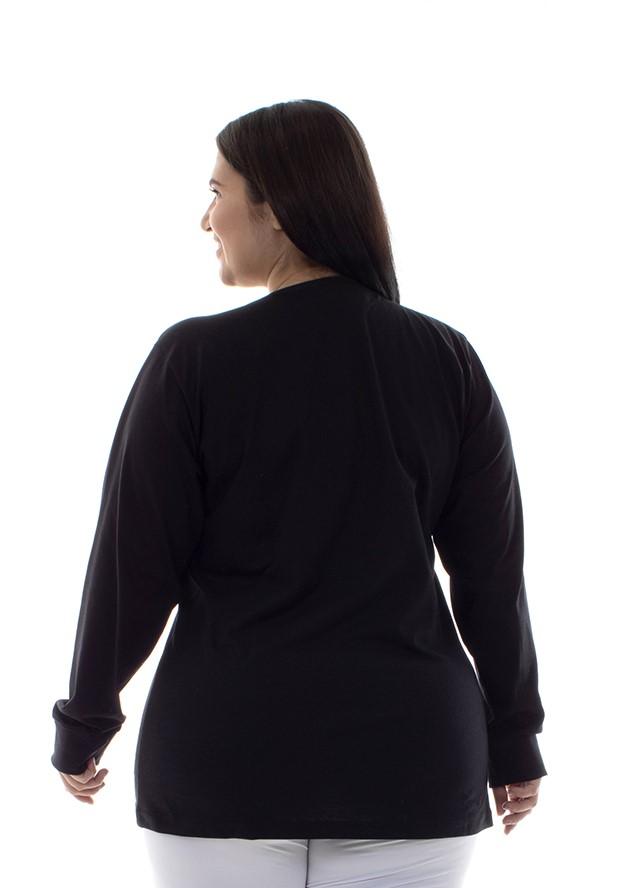 Plus Size - Camiseta Feminina Manga Longa 100% algodão - Branca e Preta  - EBT UNIFORMES