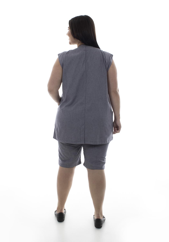 Plus Size - Conjunto de Colete com bermuda em algodão para copeira, arrumadeira, doméstica  - EBT UNIFORMES