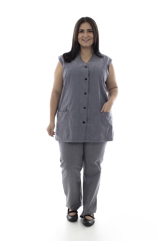 Plus Size -  Conjunto de Colete com Calça em Tecido Algodão para Copeira, Arrumadeira, Doméstica  - EBT UNIFORMES