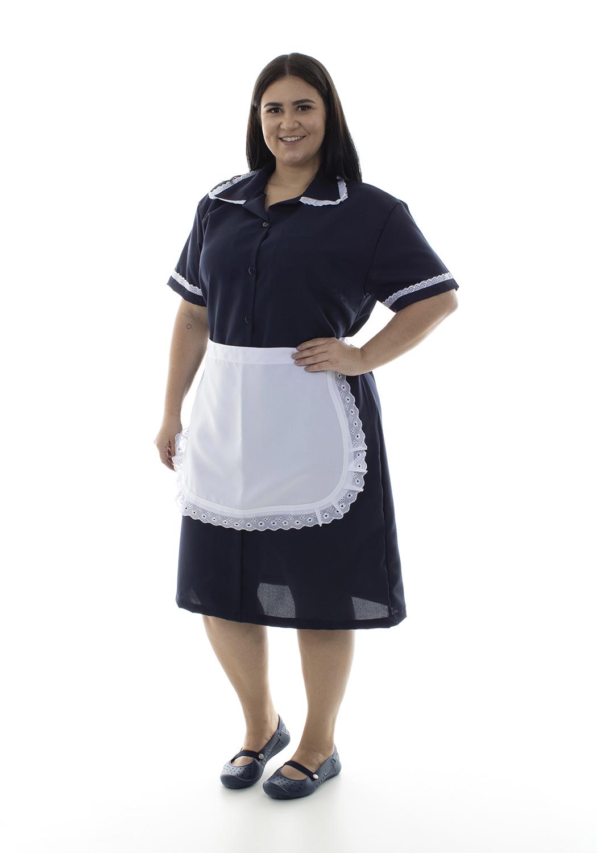 Plus Size - Kit 2 vestidos com avental e bordado ingles em Tecido Oxford para copeira,faxineira, arrumadeira  - EBT UNIFORMES