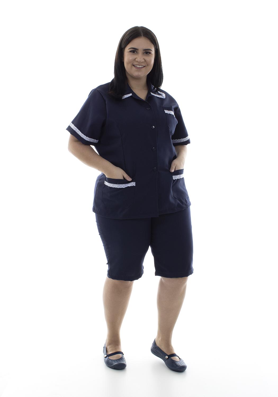 Plus Size - Kit com 2 conjuntos de Bermuda e Jaleco em Oxford para Copeira, Faxineira Doméstica  - EBT UNIFORMES