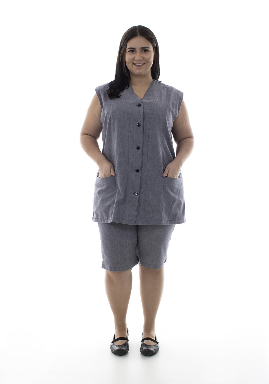 Plus Size - Kit com 2 Conjuntos de Colete com bermuda em algodão para copeira, arrumadeira, doméstica  - EBT UNIFORMES