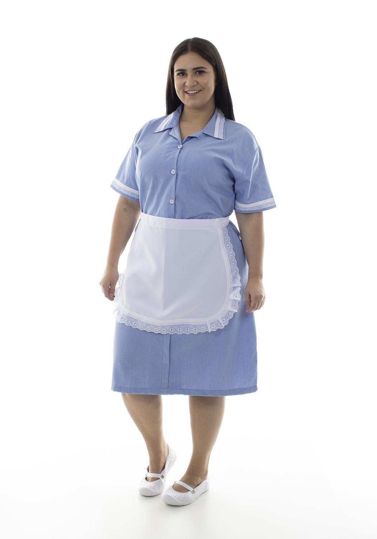 Plus Size - Kit com 2  Vestidos em Tecido Algodão Com Avental  para  Copeira, Arrumadeira, Doméstica  - EBT UNIFORMES