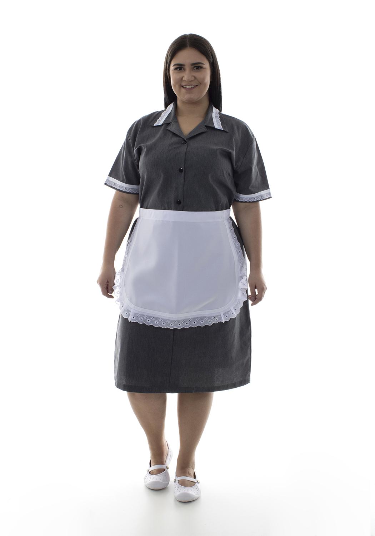 Plus Size - Vestido em Tecido Algodão Com Avental  para  Copeira, Arrumadeira, Doméstica  - EBT UNIFORMES