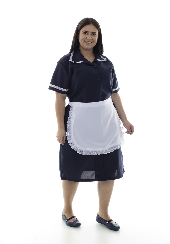 Plus Size -  Vestido em Tecido Oxford Com Avental e Detalhes em Bordado Ingles para Copeira, Faxineira, Doméstica  - EBT UNIFORMES