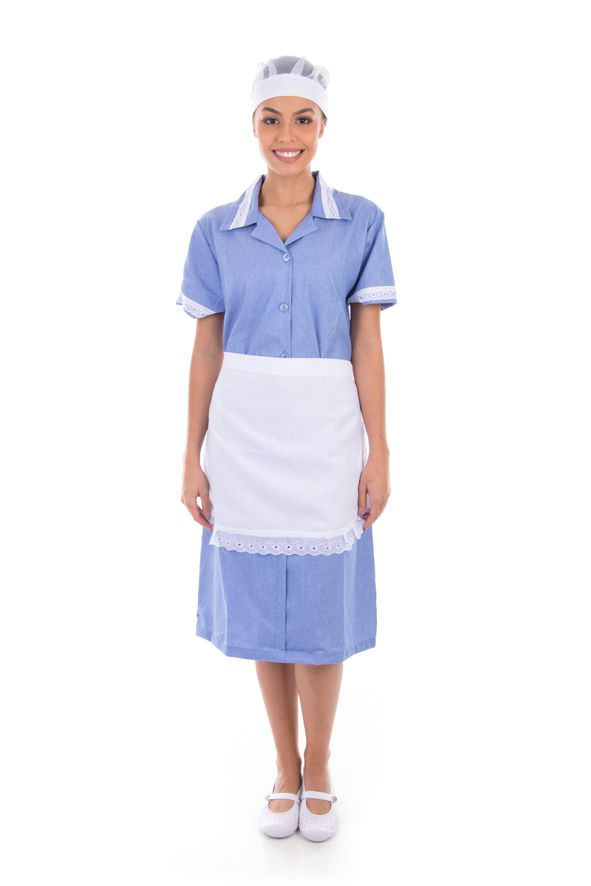 Vestido em Tecido Algodão Com Avental  para  Copeira, Arrumadeira, Doméstica  - EBT UNIFORMES