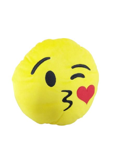 Almofada Amarela Emoji Mandando Beijo Brumar
