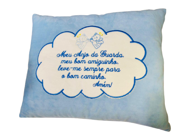 Almofada Travesseiro Antialergico Meu Anjinho Da Guarda Azul Brumar