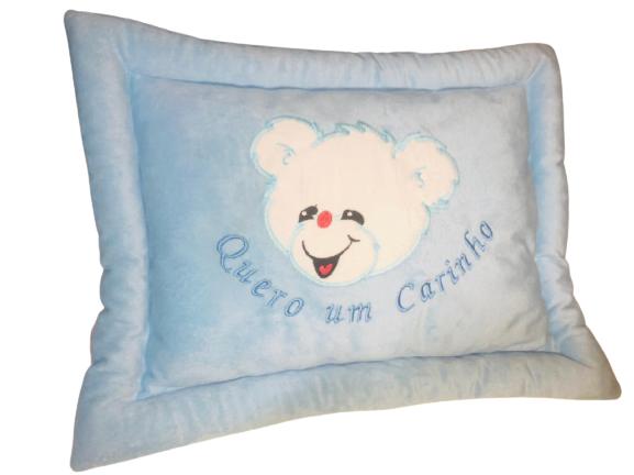 Almofada Travesseiro Antialérgico Quero Um Carinho Azul Brumar