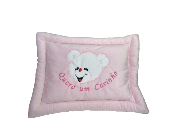 Almofada Travesseiro Antialérgico Quero Um Carinho Rosa Brumar