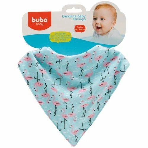Babador Bandana Para Bebê Com Forro Impermeável Flamingo Buba Baby