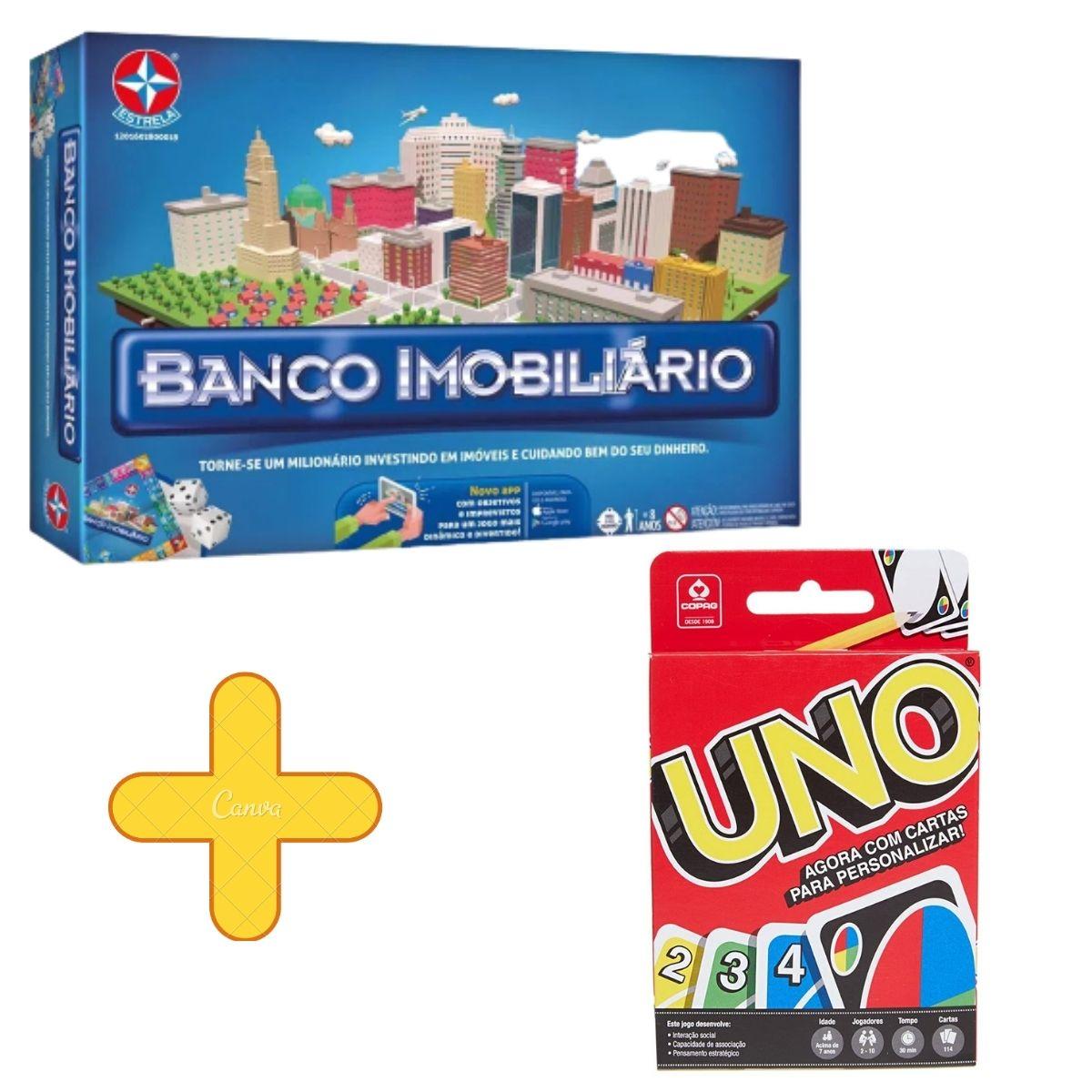 Banco Imobiliário Com Aplicativo Estrela + Jogo De Cartas Uno Copag
