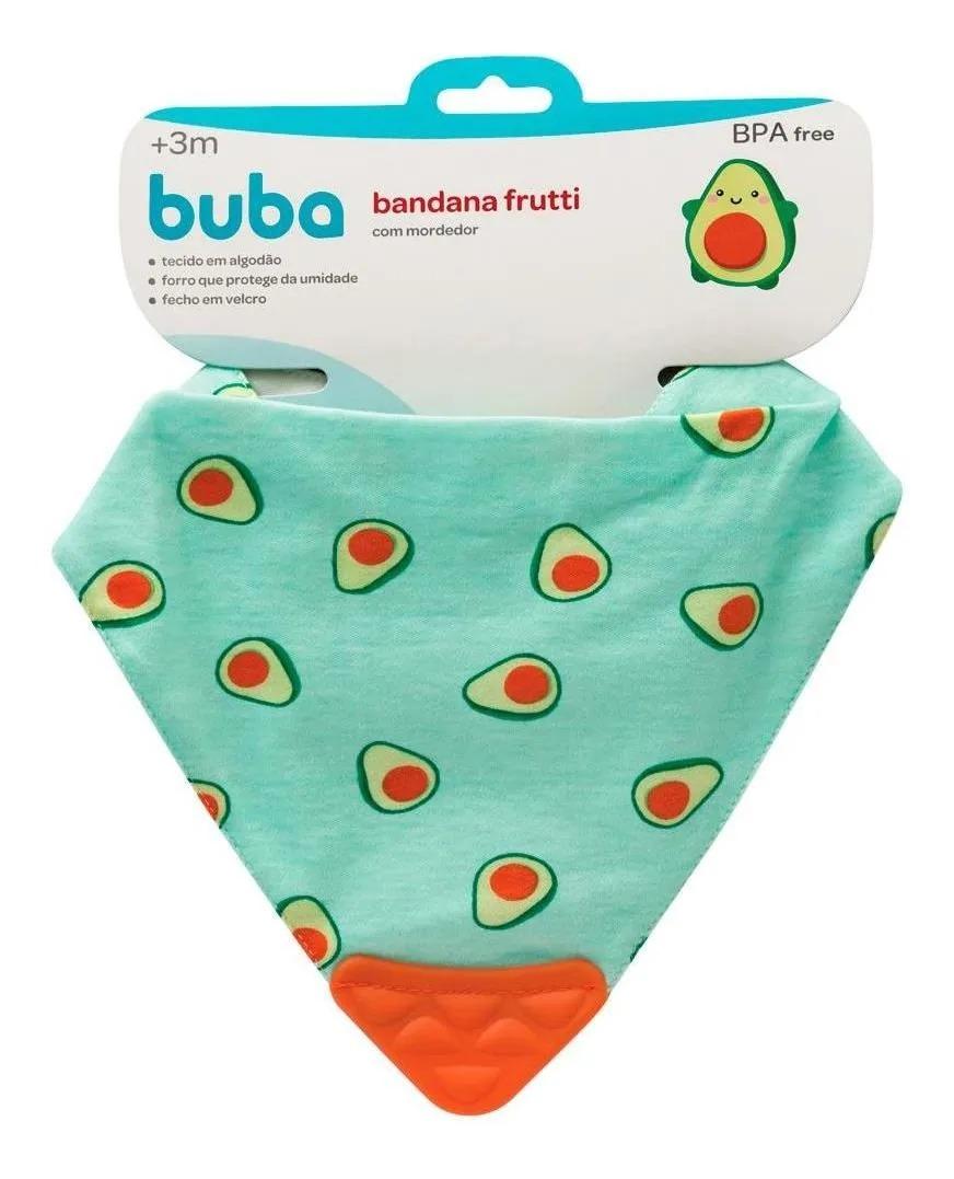 Bandana Babador Baby  Frutti Com Mordedor Laranja Buba