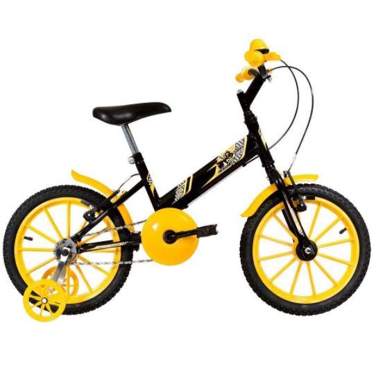 Bicicleta Infantil Aro 16 Preto e Amarelo Ultra Bikes