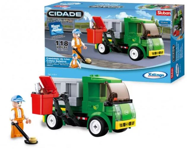 Blocos De Montar Caminhão Do Lixo Coleta Seletiva Xalingo