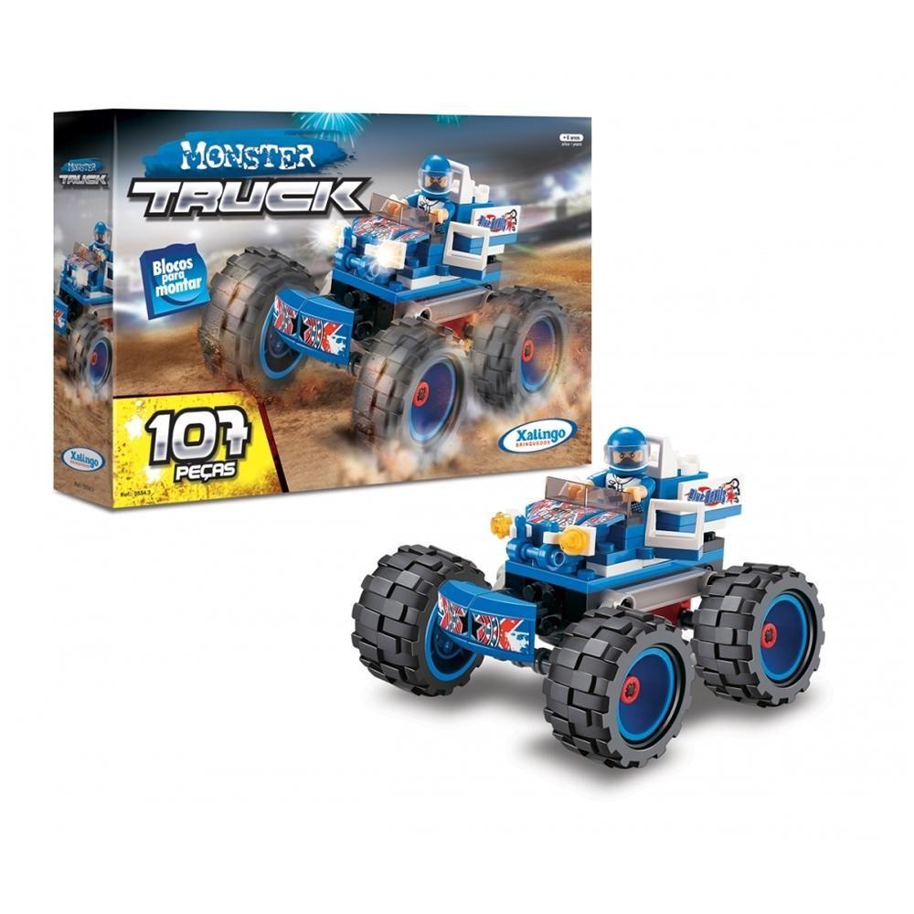Blocos de Montar Carro Monster Truck Azul 107 Peças Xalingo