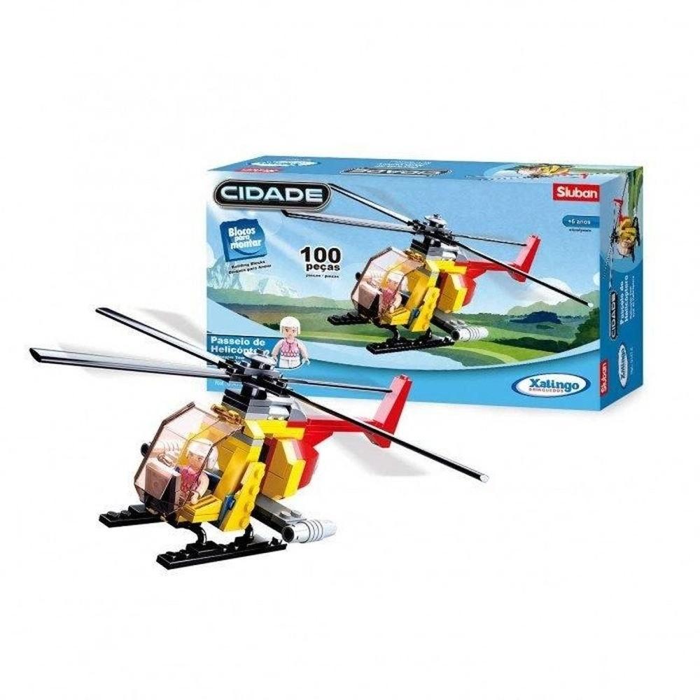Blocos De Montar Passeio De Helicóptero 100 Peças Xalingo