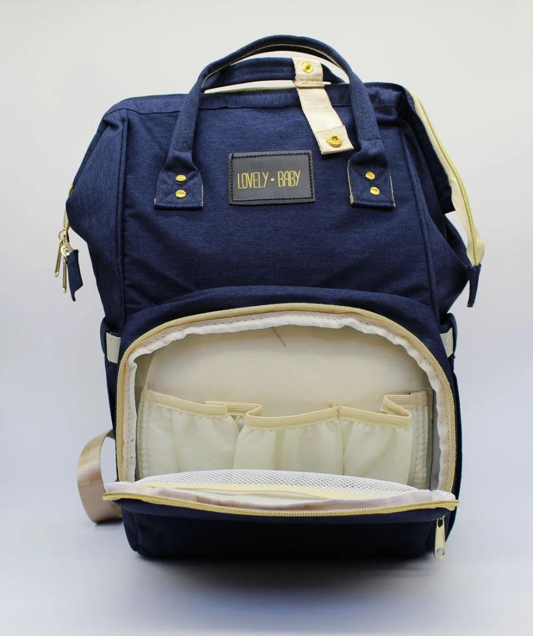 Bolsa E Mochila De Maternidade Impermeavel Com Compartimento Térmico Azul Marinho/Rose Lovely Baby