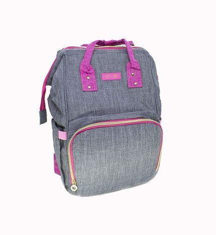 Bolsa E Mochila De Maternidade Impermeavel Com Compartimento Térmico Cinza/Rosa Lovely Baby