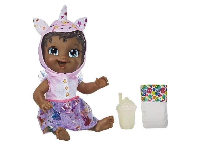 Boneca Baby Alive Tinycorn Unicórnio Negra Hasbro