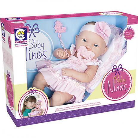 Boneca Baby Ninos com Certidão de Nascimento Cotiplás