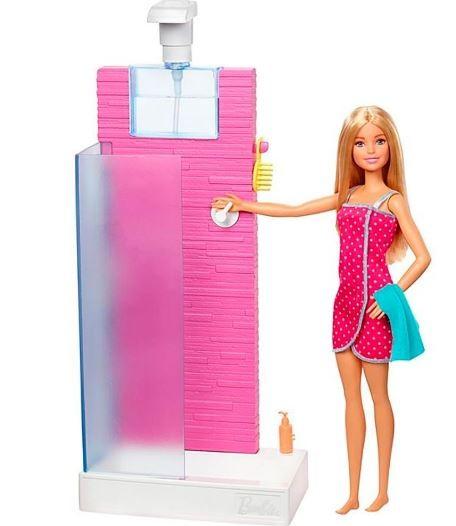Boneca Barbie e Mobilia Chuveiro da Barbie Mattel