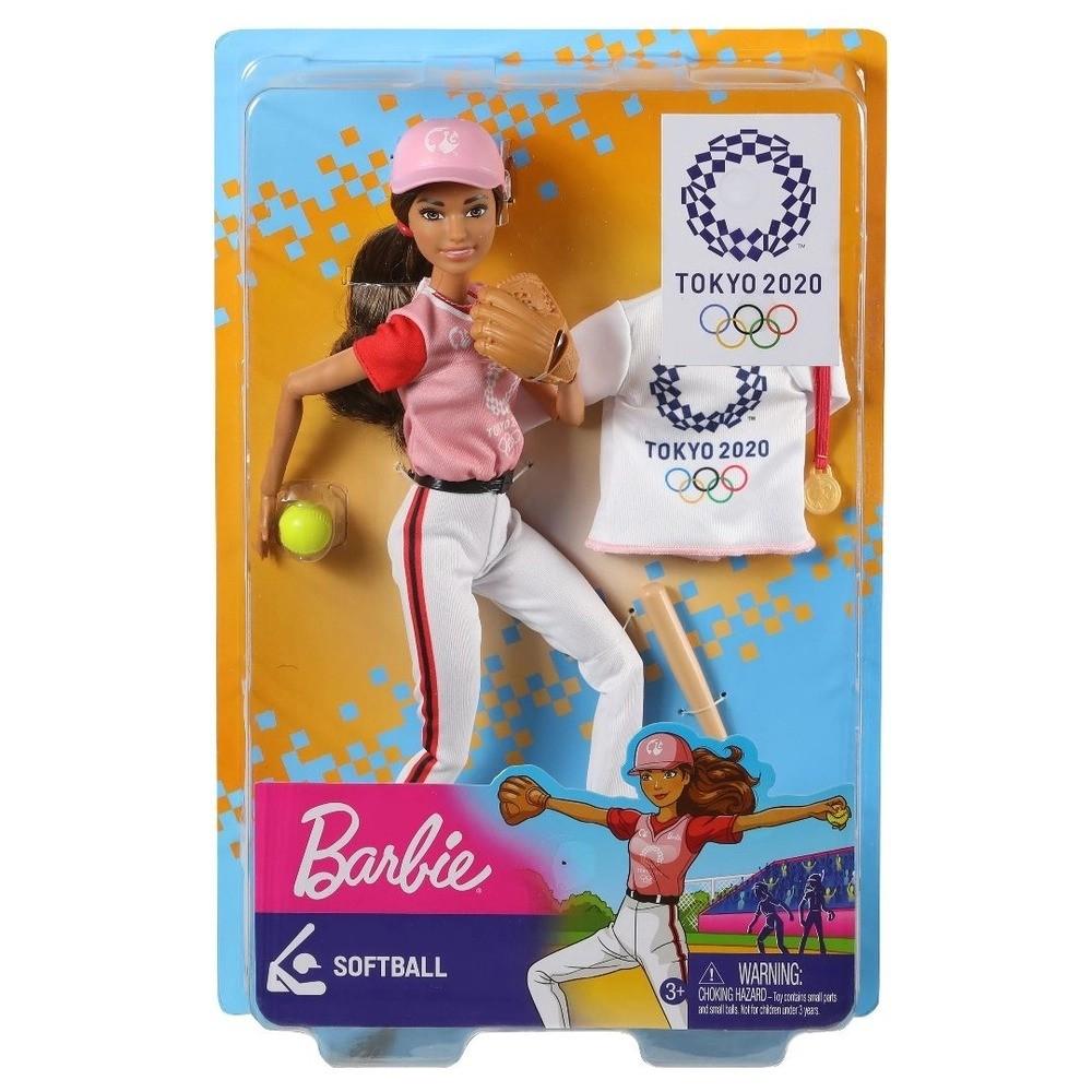 Boneca Barbie Esportista Olímpiadas Tokyo 2020 Softbol Morena Mattel