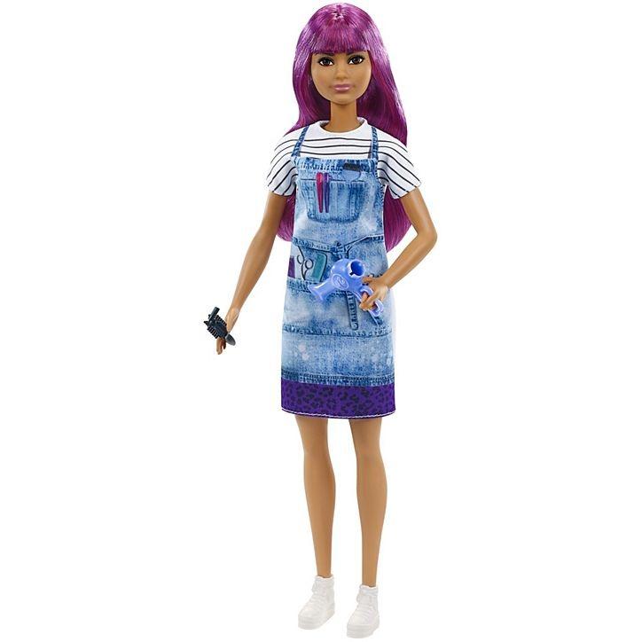 Boneca Barbie Estilista De Salão Cabeleireira Com Cabelo Roxo Mattel