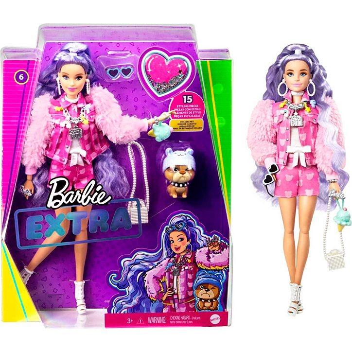 Boneca Barbie Extra Articulada Cabelo Ondulado Lilás Com Pet Cachorro E Acessórios Mattel