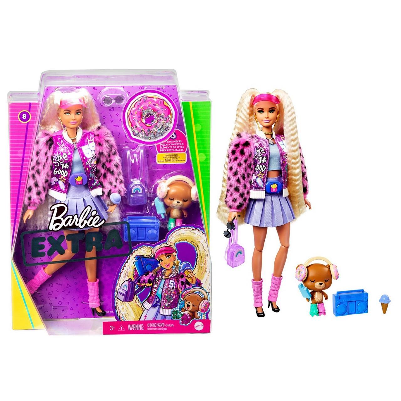 Boneca Barbie Extra Articulada Loira Cabelo Longo Estilo Tranças Reviradas Com  Pet Ursinho E Acessórios Mattel