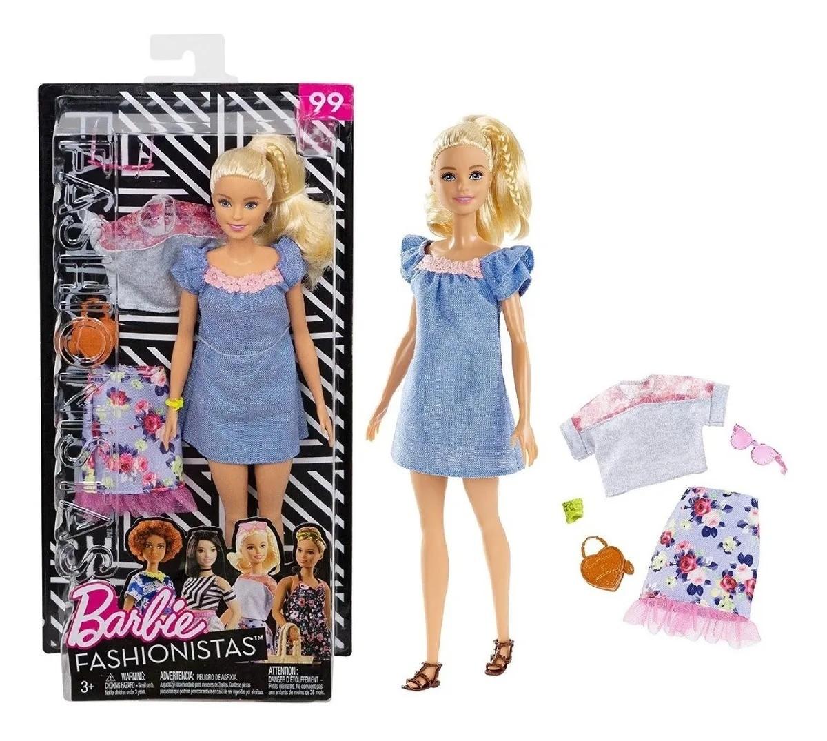 Boneca Barbie Fashionista Loira Com Roupinhas e Acessórios Modelo 99 Mattel