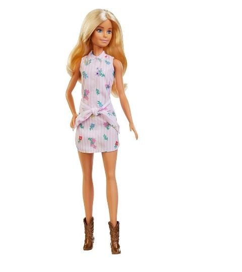 Boneca Barbie Fashionista Loira Vestido Florido Rosa Mattel