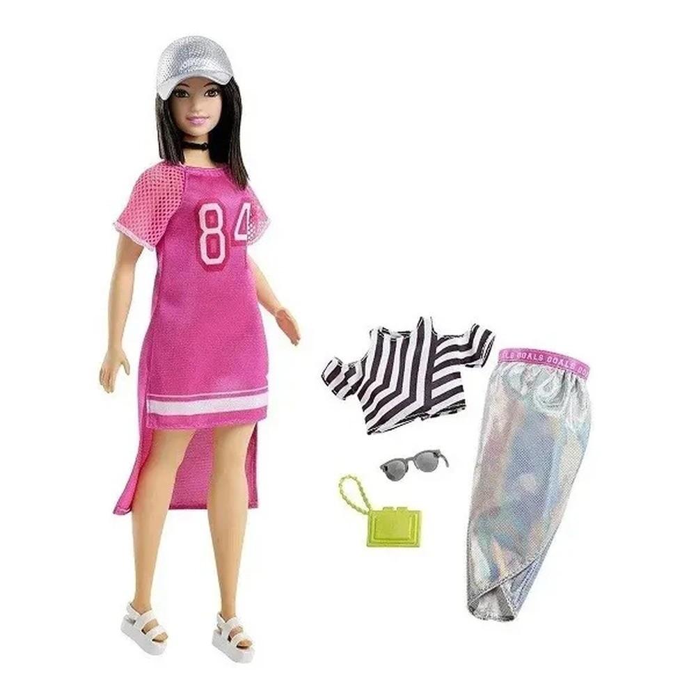 Boneca Barbie Fashionista Oriental Cabelo Curto Com Roupinhas e Acessórios Modelo 101 Mattel
