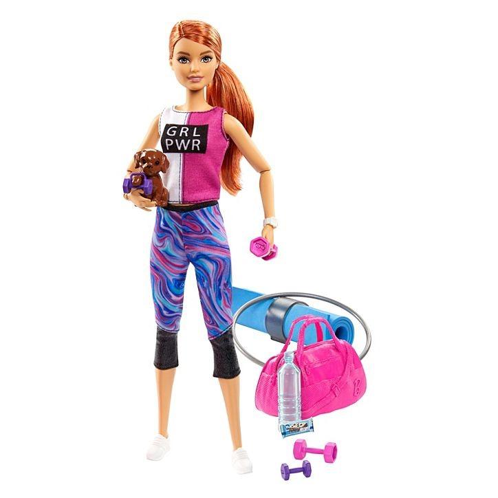 Boneca Barbie Fitness Ruiva Com Filhote De Cachorrinho + Acessórios Mattel