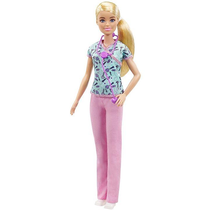 Boneca Barbie Loira Enfermeira Com Estetoscópio Mattel